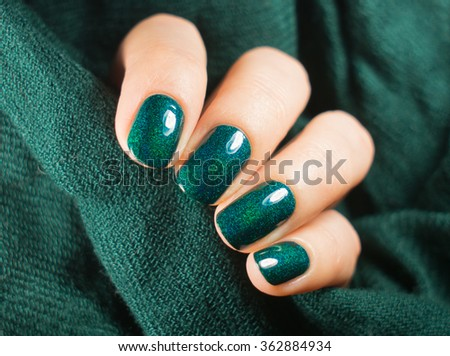 Beautiful Nail Polish In Hand Close Up Green Nail Art Manicure