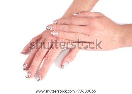 Beautiful nails and woman fingers