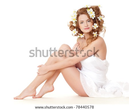 beautiful naked girl on a white