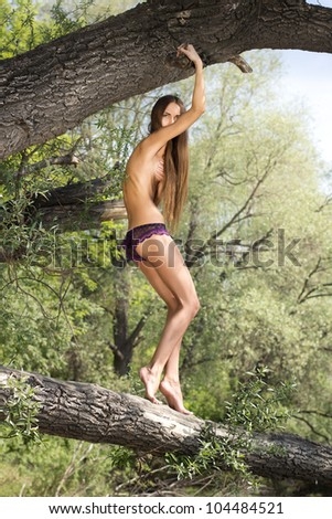 beautiful naked model poses on a tree