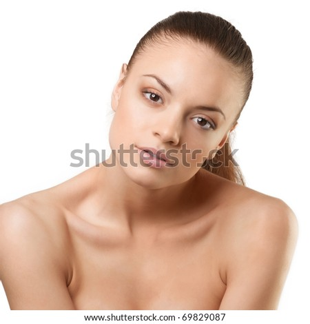 stock photo beautiful naked woman with brown hair looking at camera over white background 69829087 Beautiful Nude Sabina
