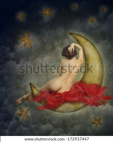 beautiful naked woman with red silk sitting on the paper moon. Surreal fine art image of nude woman from behind on the night sky. Fantasy concept.