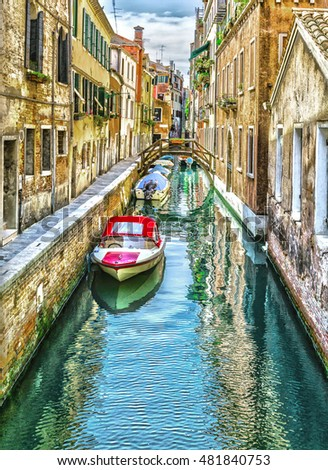 Beautiful narrow channel of old Venice #481840753