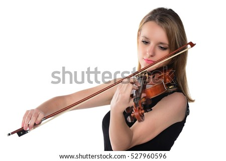 Beautiful natural blond girl with violin. isolated on white