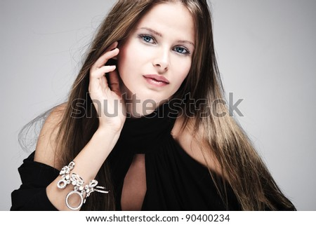 beautiful natural blue eyes woman portrait, studio shot