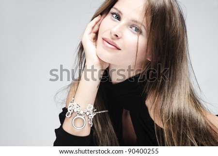 beautiful natural blue eyes woman portrait, studio shot