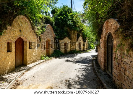 Beautiful natural cellar row in Nyúl Hungary between the woods in the nature Stock fotó ©