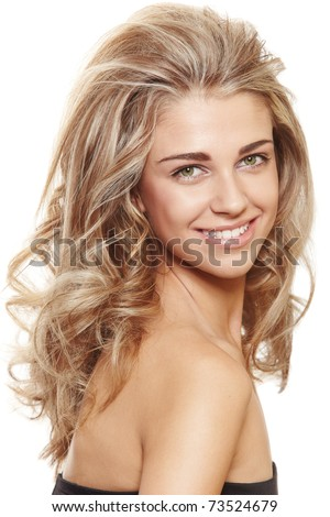 beautiful natural make-up woman with blond long hair in big hairstyle smiling at camera isolated on white