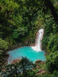 Beautiful natural turquoise waterfall in Rio Celeste, Costa Rica