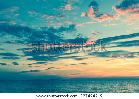 Beautiful naturally seascape sunset overcast with tone image  #527494219