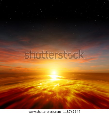 Beautiful nature background - red sunset, bright sun, stars in space