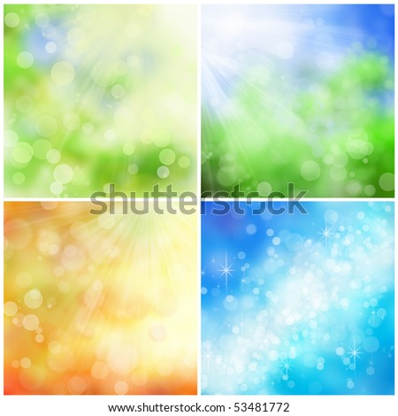 Beautiful nature bokeh backgrounds for four seasons: spring, summer, fall, and winter.