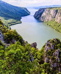 Beautiful nature landscape , gorge Danube river , the Iron Gates , located at eastern Serbia, border with Romania, Europe