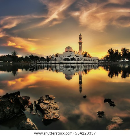 Beautiful nature landscape of Terengganu, Malaysia, Masjid Tengku Tengah Zaharah during sunset , long exposure( photography)