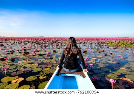 Beautiful nature Landscape red Lotus sea in the morning with fog blurred background in the bright day , Thailand, lotus, red lotus sea, Udon Thani