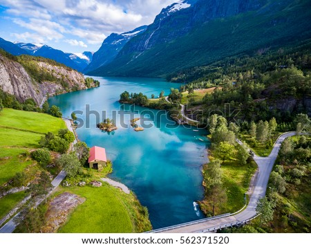 Beautiful Nature Norway natural landscape aerial photography. lovatnet lake. #562371520