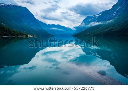 Beautiful Nature Norway natural landscape. lovatnet lake.
