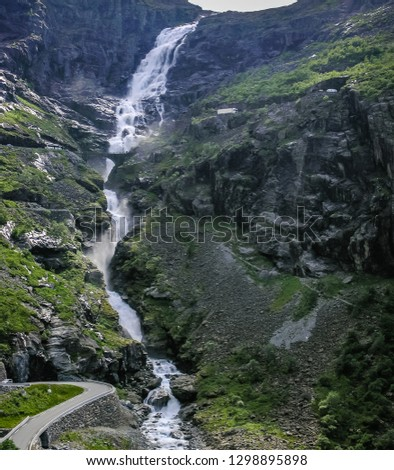 Beautiful nature of Norway, mountains, gorges, mountain river and mountain road