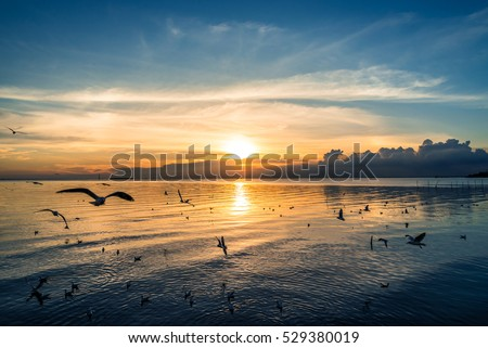 Beautiful Nature of Sunset Over the Sea with Twilight Sky