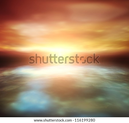 Beautiful nature scenery of sunset over sea. Soft focus