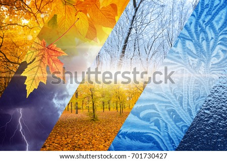 Beautiful nature seasonal background - two seasons of year collage. Vibrant colorful images of different time of year - fall and winter. Weather forecast concept.