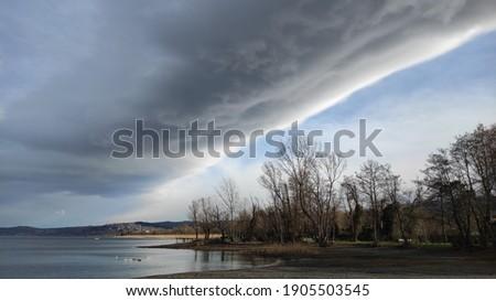 Beautiful nature view at Sapanca Lake in winter Stok fotoğraf ©
