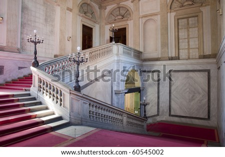 Beautiful neoclassical marble stairs in milan palazzo reale