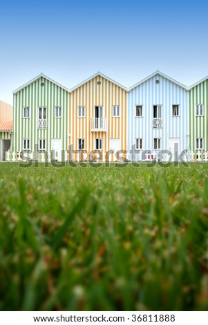 beautiful new apartments close to the beach with colorful strips
