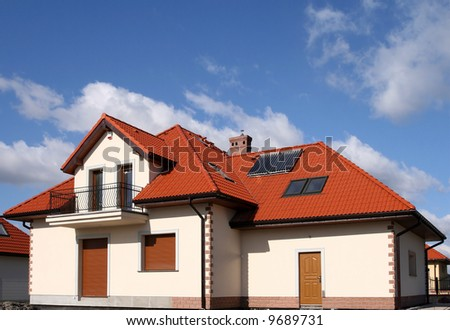 Beautiful new home with solar panels on the roof - environmental friendly!