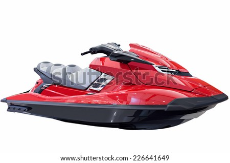 Beautiful new Red jet ski isolated on white