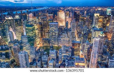 Beautiful New York City skyline with urban skyscrapers at sunset. #136395701
