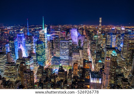 Beautiful New York City skyline with urban skyscrapers at sunset.