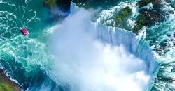 Beautiful Niagara falls aerial view in summer.