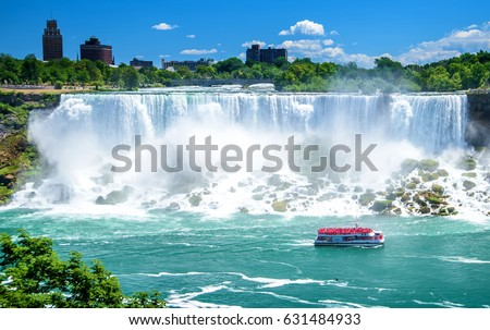 Beautiful Niagara Falls on a clear sunny day. Niagara, Canada #631484933