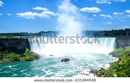 Beautiful Niagara Falls on a clear sunny day. Niagara, Canada #631484948