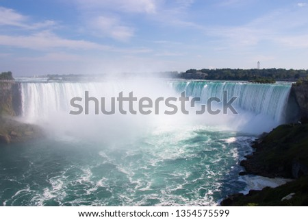 Beautiful Niagara Falls with blue sky in Ontario, Canada #1354575599