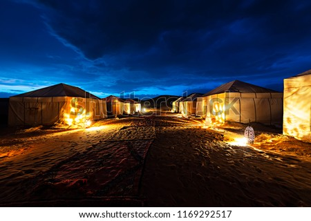 Beautiful night blue sky at tent camp in Sahara desert, Morocco.