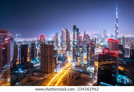 Beautiful night city, cityscape of Dubai, United Arab Emirates, modern futuristic architecture nighttime illumination, luxury traveling concept #234362962