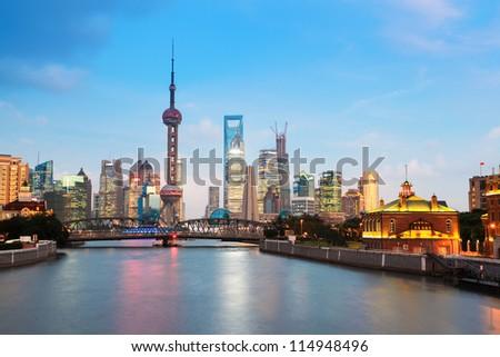beautiful night in shanghai,view from suzhou river
