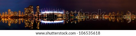 Beautiful night of the Vancouver skyline from False Creek.