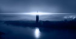 Beautiful night seascape with lighthouse at blue dark night
