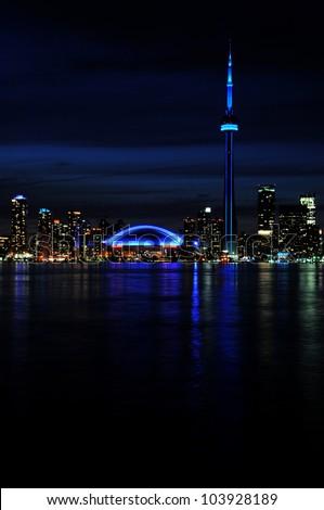 Beautiful night shot of city of Toronto skyline at night, taken from Center Island