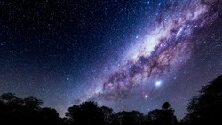 Beautiful night sky.Mountains, rivers, stars and the Milky Way