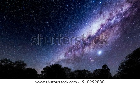 Beautiful night sky.Mountains, rivers, stars and the Milky Way  Foto d'archivio ©