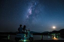 Beautiful night sky see many stars.