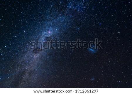 Beautiful night sky with milky way, LMC galaxy and SMC galaxy.