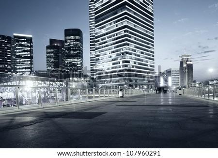 beautiful night view of modern buildings in shanghai