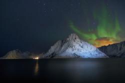 Beautiful night view of scenic Lofoten Islands archipelago winter scenery, Beautiful mountain landscape in winter Norway, Scandinavia.