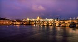beautiful nightscape of prague in czech. praha castle and charles bridge in praha