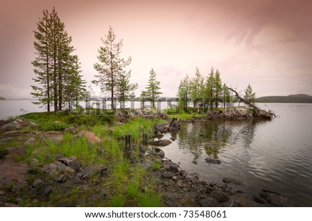 Beautiful northern landscape on the lake in Finland